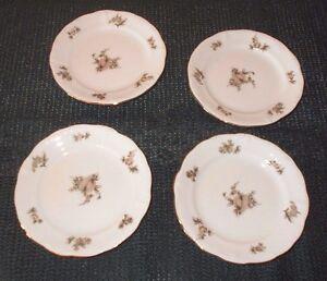 4 LOVELY VTG JOHANN HAVILAND BAVARIA GERMANY SEPIA ROSE BREAD & BUTTER PLATES