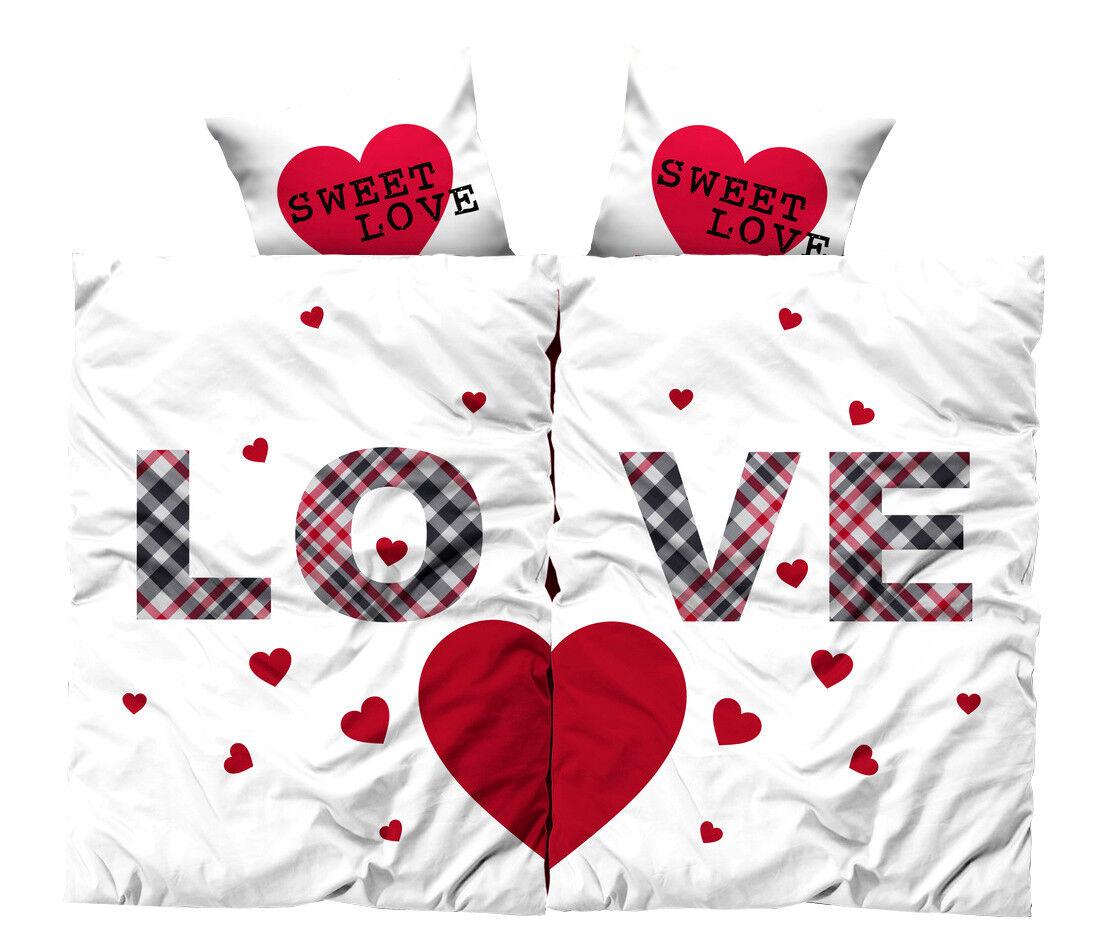 4 tlg Bettwäsche Partner Set 135x200 Love Herz weiß rot romantisch liebe