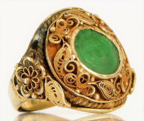 ANTIQUE CHINESE EXPORT 830 SILVER FILIGREE APPLE GREEN JADE SIGNET RING FLORAL !