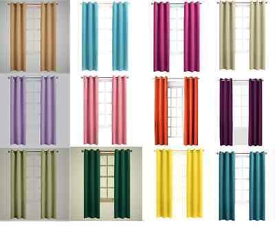 1 SET LINED HEAVY THICK  BLACKOUT GROMMET WINDOW CURTAIN PANELS TREATMENT K92