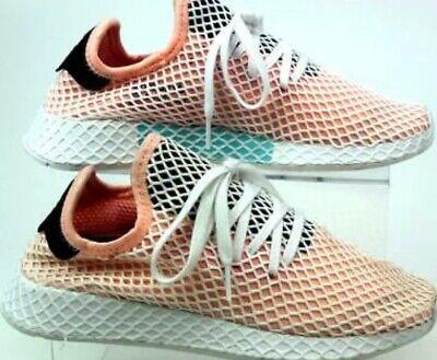 adidas deerupt runner size 8 peach/white