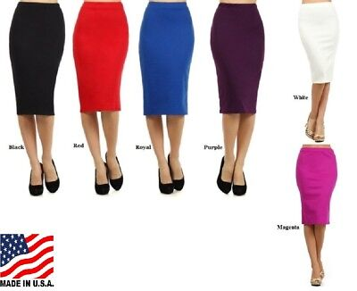 PLUS SIZE SKIRT PENCIL KNIT ASSORTED COLORS A LINE FORM FITTING XL 2XL 3XL