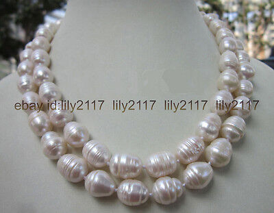 - LONG 35 INCH 7-9MM NATURAL WHITE FRESHWATER Cultured BAROQUE PEARL NECKLACE