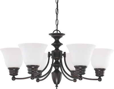 Empire 6 Light Dimmable LED Mahogany Bronze And Frosted Glass Chandelier