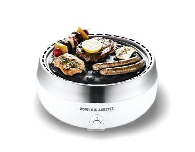 ROWI Tisch Holzkohlegrill Grillerette Premium weiss mit Lüfter
