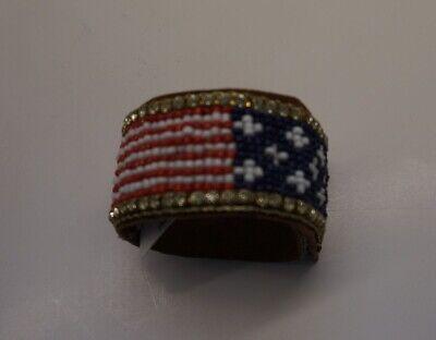 Patriotic Red White Blue beads crystals Beaded USA America Bracelet AC26B-4/22