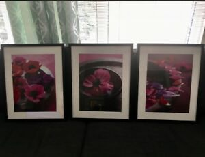 Mint! Large Set of 3 Floral Collage Pictures