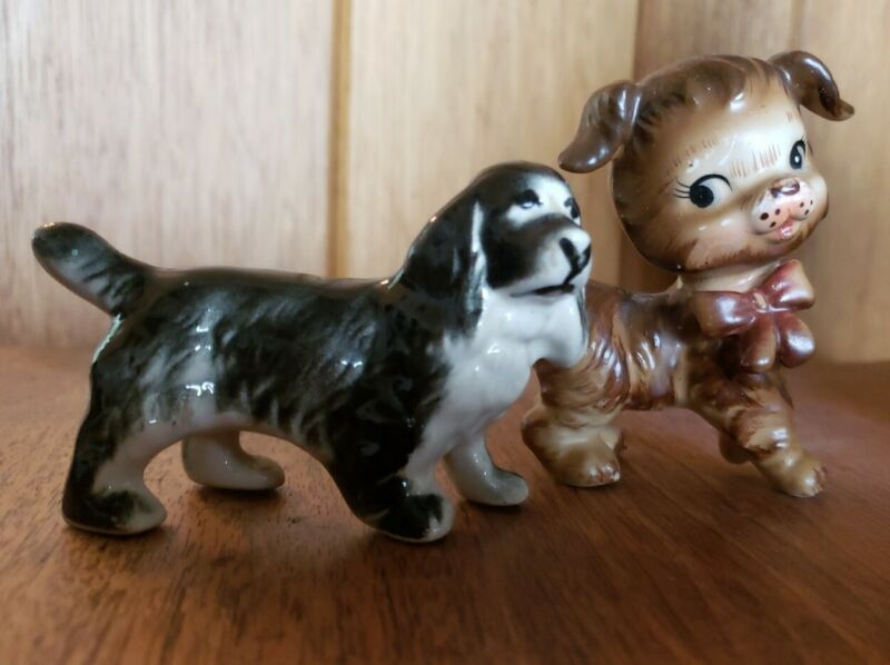2 Vtg Ceramic Dog Figurines Anthropomorphic Mid Century Brown Black Kitsch Japan