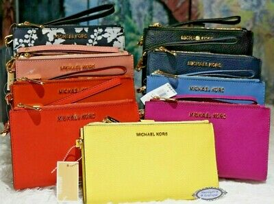 MICHAEL KORS Jet Set Travel DOUBLE-Zip Wristlet/Wallet In VARIOUS COLOR Leather