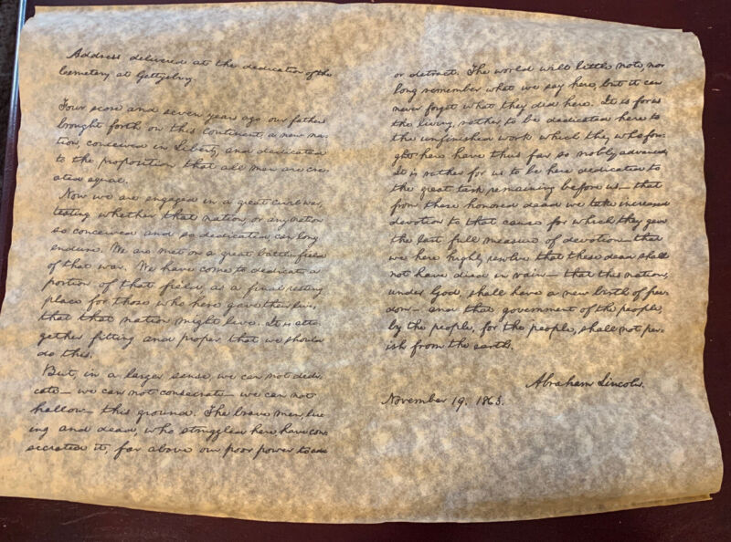 Gettysburg Address - Rolled Parchment Replica