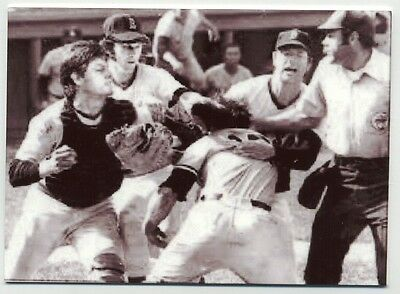 Thurman Munson and Carlton Fisk FIGHTING -  METAL baseball card -