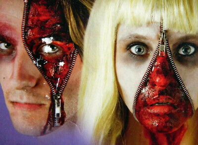 Easy Scary Halloween Face Makeup (HALLOWEEN Horror Blood Zip zipper make up kit Face paint SCARY EASY TO DO)