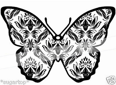 24 DAMASK Print Design Butterflies Edible Decorations Cup Cake Toppers (Cup Cake Toppers)