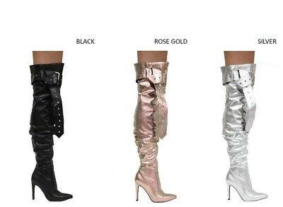New Women Slouchy Pointy Toe Over Knee Thigh High Stiletto Heel Boot Buckle Belt