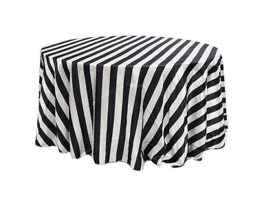 132 inch Round Satin Tablecloth Black/White Striped