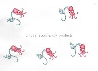 LOT 5, TROPICAL CORAL COLORED FLOWER Temporary Tattoo small size](Colorful Flower Tattoos)