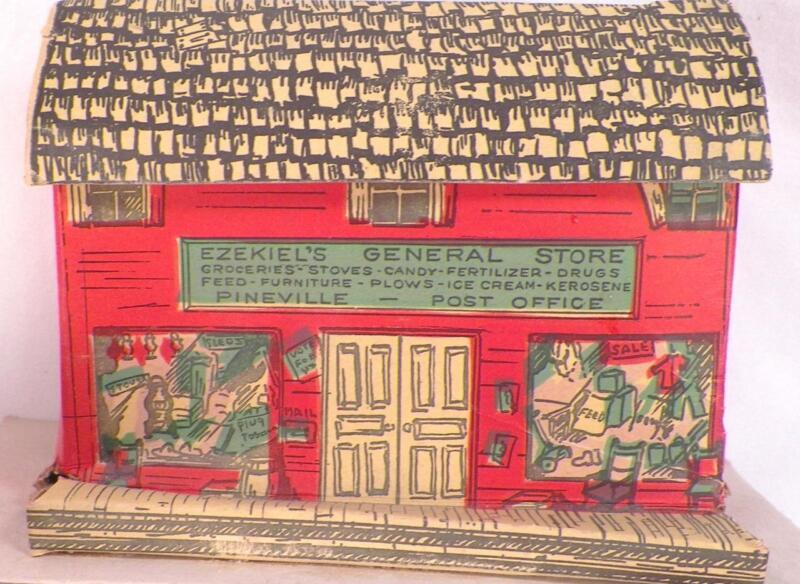 Vintage Pineville General Store Christmas House Putz Train Montgomery Ward #1