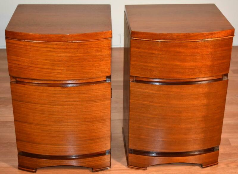 1910s Pair of Antique Art Deco Mahogany Nightstands / Bedside Tables
