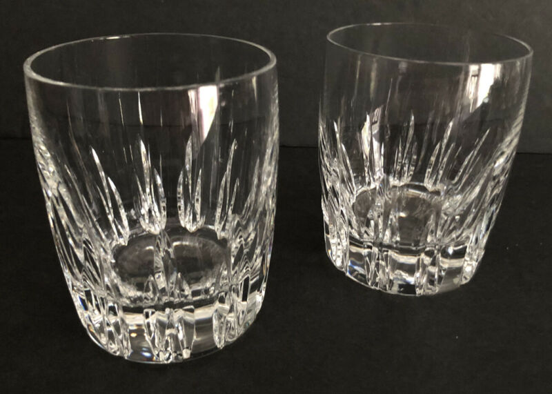 Lenox Crystal FIRELIGHT Clear Set of 2 Double Old Fashioned Glasses Exc