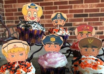 6 Handmade Halloween Cupcake Toppers,Appetizer Pick Soldier,Pirate,Fireman Mask