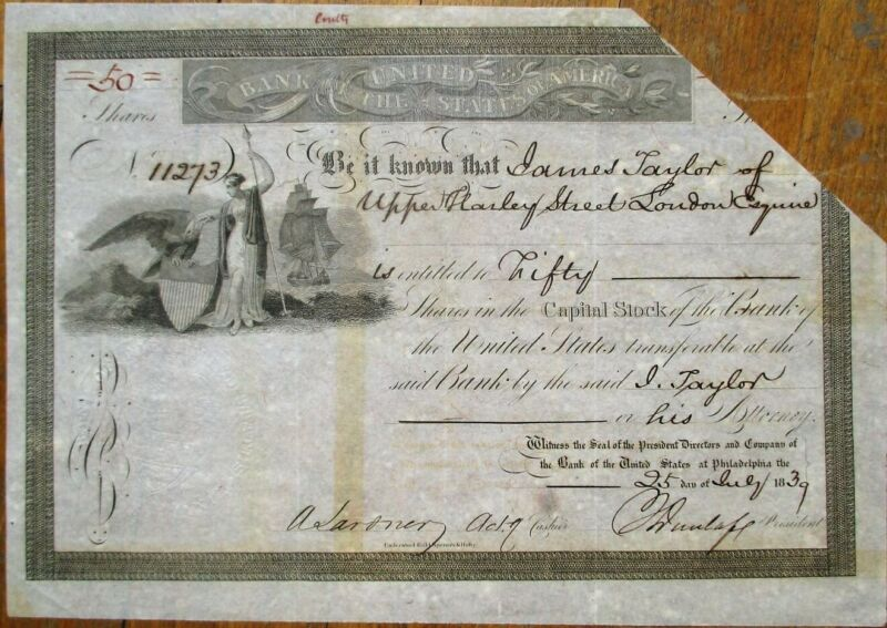 Bank of the United States of America 1839 Stock Certificate - Philadelphia, PA