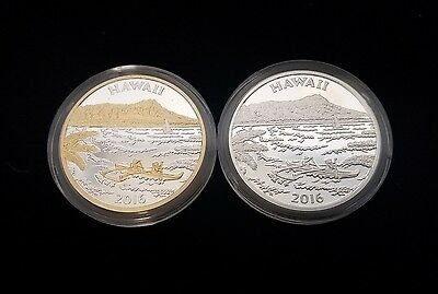 2016 Hawaii The Aloha State Silver GP 2 Piece Medal Proof Set Treasure Chest Co.