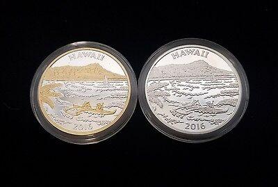 2016 Hawaii The Aloha State Silver GP 2 Piece Medal Proof Set Treasure Chest Co.