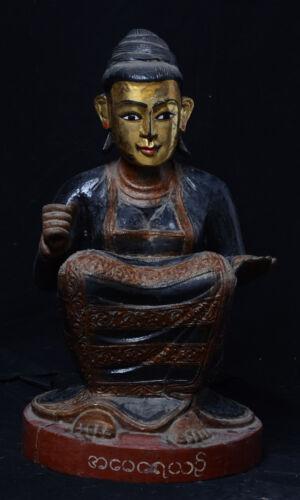 19th Century, Mandalay, Antique Burmese Wooden Sitting Nat