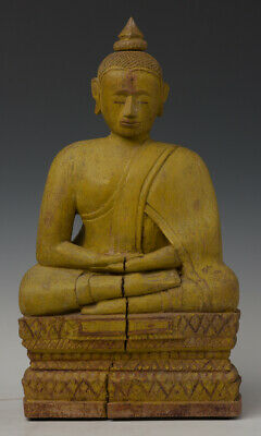 19th Century, Antique Khmer Wooden Seated Buddha