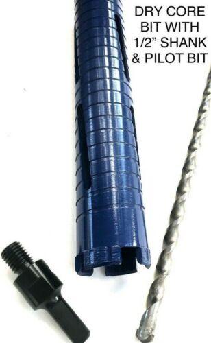 "3"" Dry Diamond Core Drill with Pilot Bit 1/2"" Shank Chuck Arbor adapter"