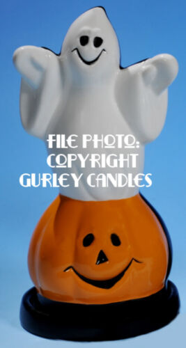 """Gurley """"Saf-T-Glo""""  Candle Lamp - Ghost in Jack O"""