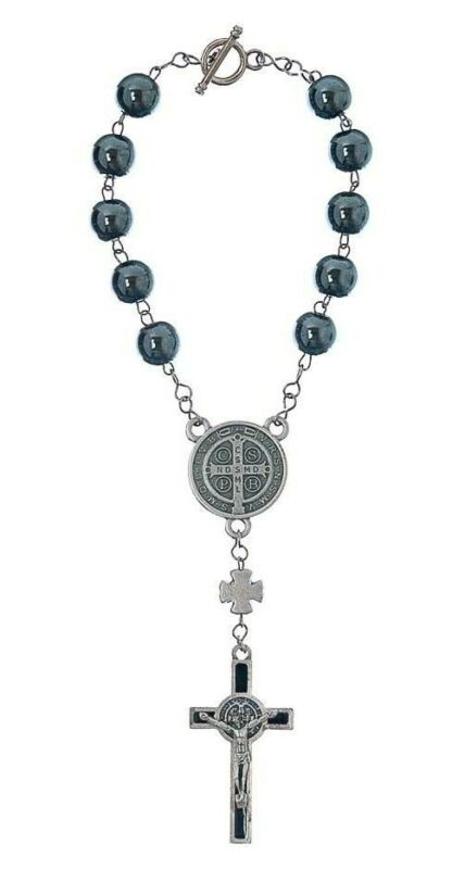 Hematite Decade Auto Rosary rearview mirror Saint Benedict Medal San Benito Cruz