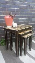 Nest Of Three Coffee Or Side Tables Dark Brown Distressed Finish Coogee Eastern Suburbs Preview