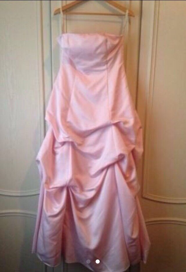 Pink satin bridesmaid dress size 12