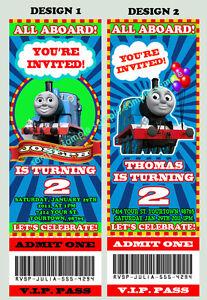 thomas the tank train engine ticket birthday party invitation personalized ebay