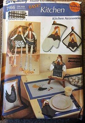 Simplicity Oven Mitt - Simplicity 7166 Kitchen Accessories Rooster Chicken Pillow Oven Mitt Placemat