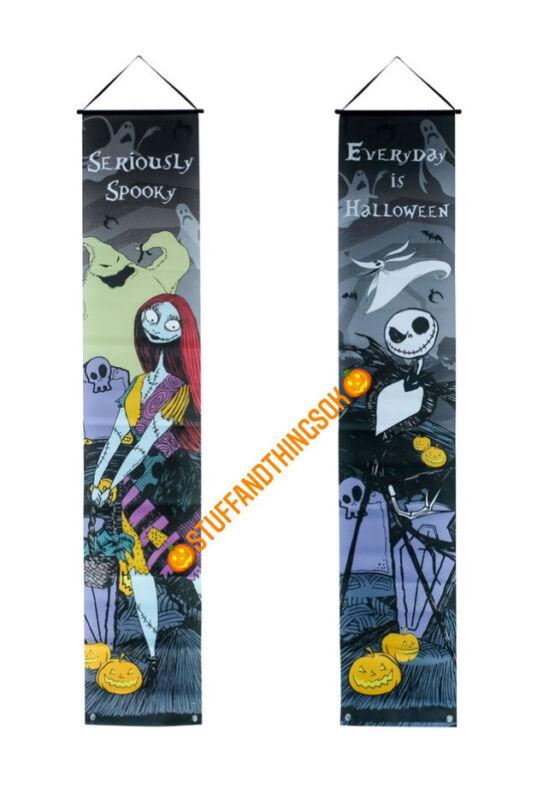 Nightmare before christmas door banner Halloween Jack Skellington & Sally NEW