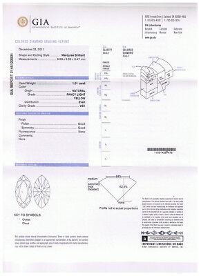 1.01 ct GIA Fancy Yellow Color VS1 Marquise Diamond Platinum Antique Ring 1.70 c 2
