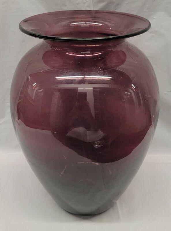 purple blenko glass vase 11 Inch