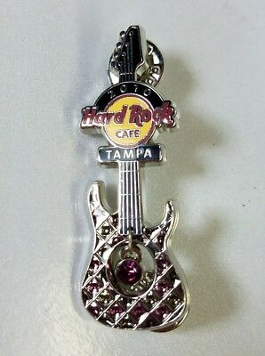 Hard Rock Cafe Tampa 2010 Green Violet Enamel Guitar Pin Stone Dangle Limited