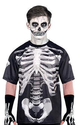 Halloween 3D Skelett T-Shirt Herren Knochen Lamellen Top Fancy-Dress Kostüm Neu