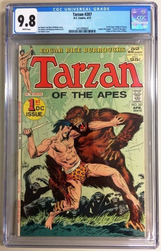 Tarzan #207 CGC 9.8 DC 1972 1st DC Issue! John Carter! White Pages! H4 142 cm