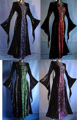 Edel Samt Mittelalter Kleid Gewand Hexe*schwarz/rot-grün-blau*36-46*671