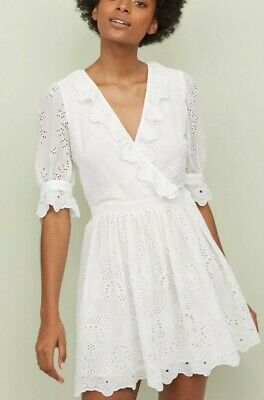 H&M BRODERIE ANGLAISE WHITE COTTON DRESS SIZE 10 TREND PREMIUM ISABEL MARANT