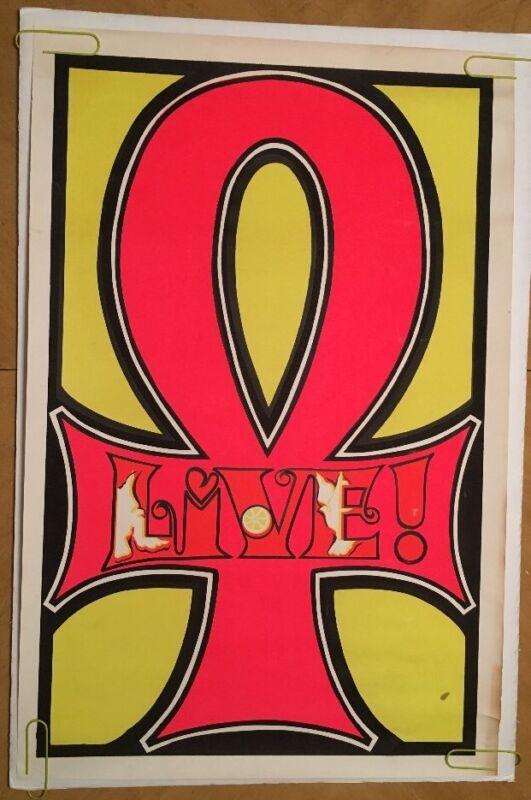 Vintage Blacklight Poster Head Shop Pin-up Anti War Peace Unk Dove 1970