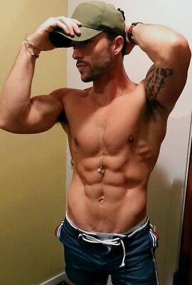Shirtless Male Muscular Beefcake Arm Pits Beard Gym Abs Hot Guy PHOTO 4X6 F1271