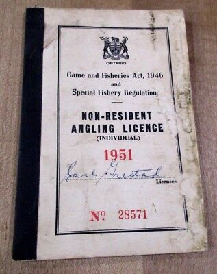 1951 Ontario Non Resident Angling Fishing License with shipping tags  #28571 >
