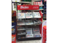 News paper stand on wheels