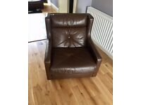 2 mint condition brown leather armchairs