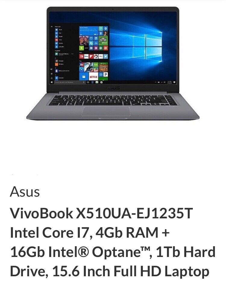 New Asus vivobook X510UA-EJ1235T intel core i7, 15 6 inch full HD laptop  RRP £600 | in Dumbarton, West Dunbartonshire | Gumtree
